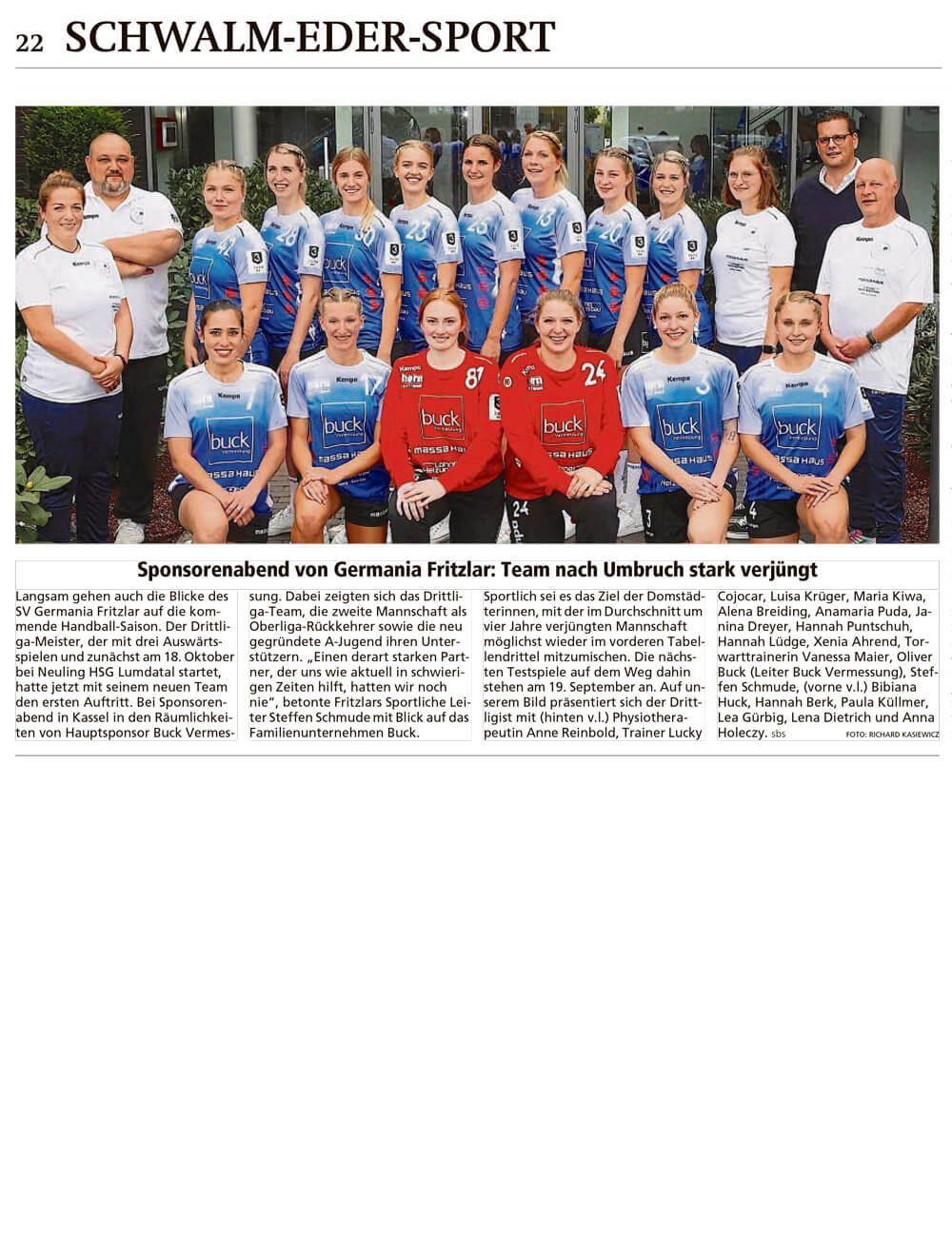 HNA Artikel zu SV Germania Fritzlar