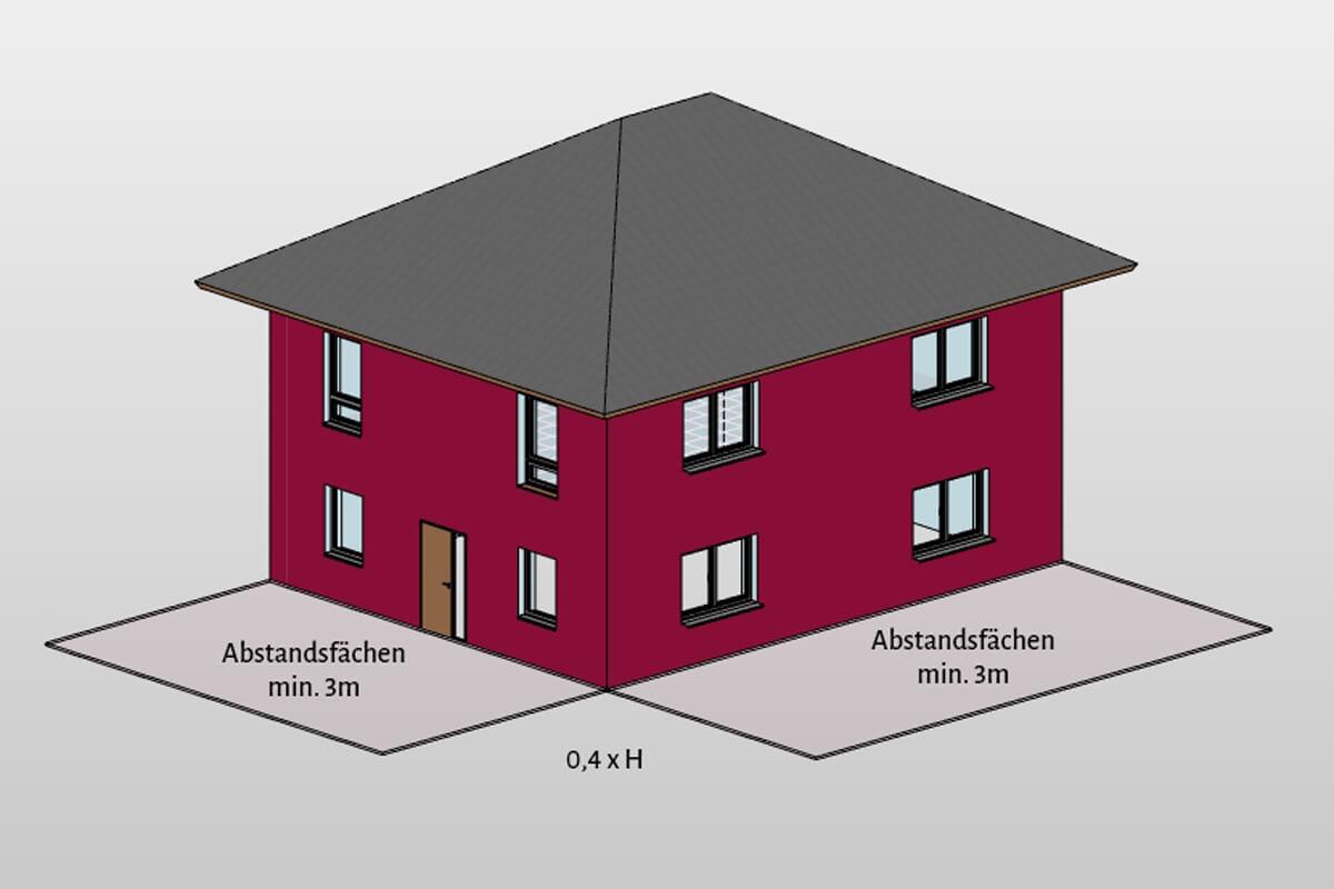 abstandsfläche, abstandsflächenberechnung, haus, lageplan, liegenschaftsplan